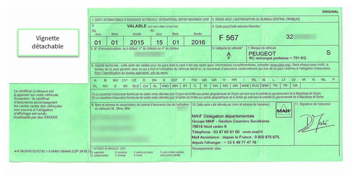 certificat d'assurance