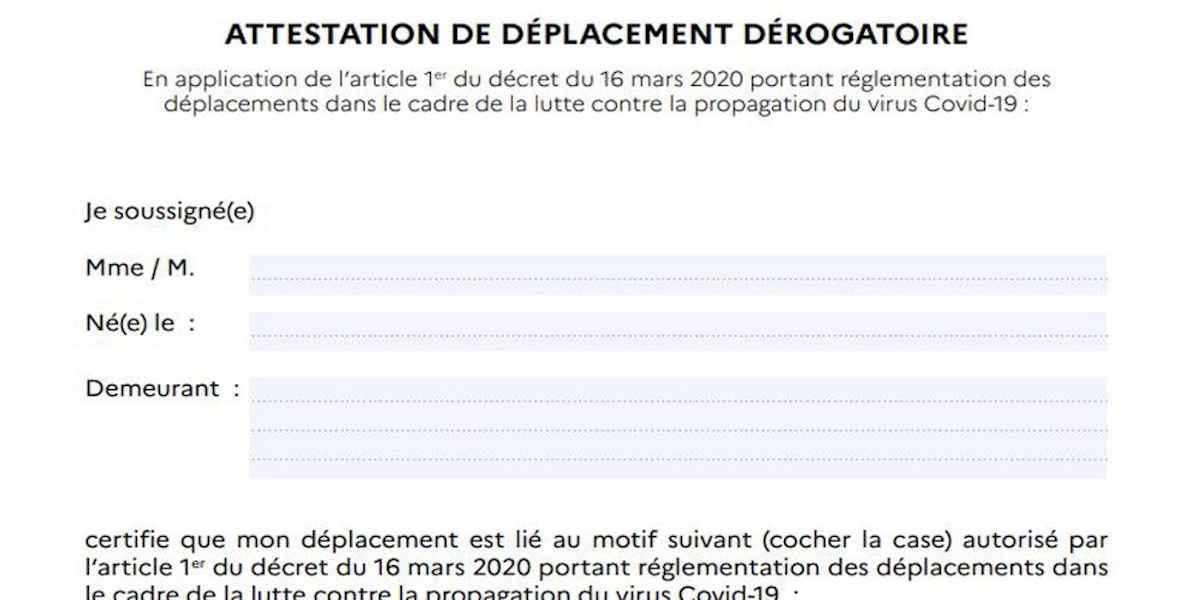 Selon le Conseil d'État, l'attestation officielle de déplacement dérogatoire n'était pas obligatoire